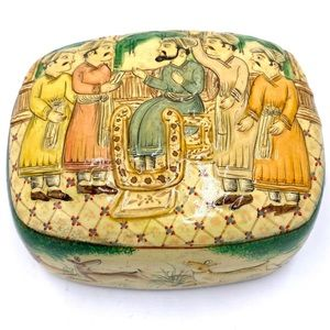 Hand painted made in Kashmir wooden trinket box